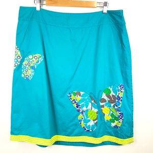 Boden Teal Butterfly Appliqué Embroidered Skirt